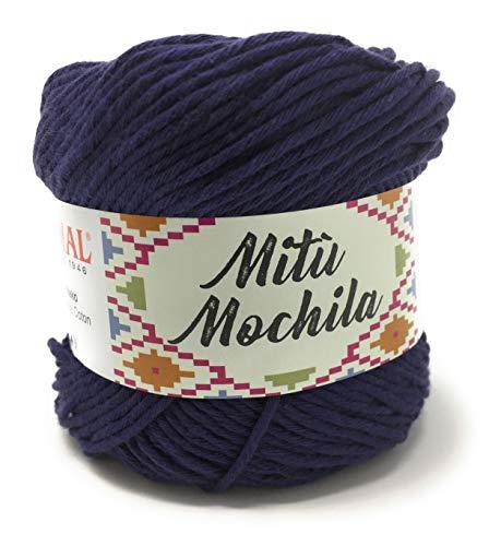 Mondial filato mitù mochila gomitolo 100gr uncinetto 3,5-4 100% cotone (237 blu navy)