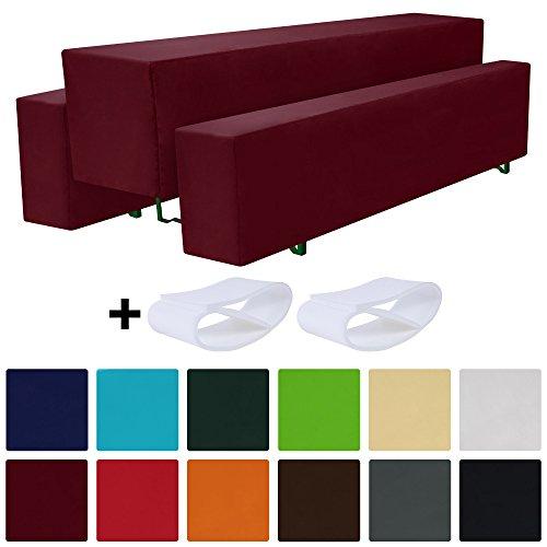 Beautissu Comfort M gepolsterte Bierbank-Hussen & Tisch-Husse 5 tlg. Set für 50cm breite Bierzeltgarnitur Dunkel-Rot