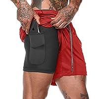 APHT Hombres Pantalones Cortos Deportivos Comprimidos por Dentro, Pantalones Cortos de maratón de Fitness con Bolsillos incorporados, Pantalones Transpirables + Secado rápido