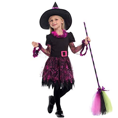 QINGQING Fee Kostüm Set mit Hexe Hut für Mädchen Alter 5-12 Party Kleider + Hexenhut + Gürtel Kinder Mädchen Halloween Kleidung Kostüm (Size : M(5-7years))