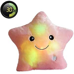 MFEIR® Kreative Glühende LED Nachtlicht Twinkle Stern Form Plüsch Kissen Stofftiere 30x35 cm Rosa