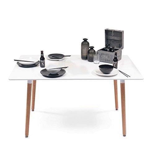 Homely Mesa de comedor y cocina TOWER de diseño Nórdico y patas de ROBLE - 140x90
