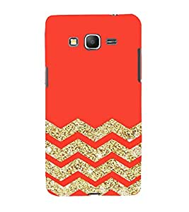 Fuson Designer Back Case Cover for Samsung Galaxy Grand Max G720 (Red Gold Glitter Shining ZIgZag Lines)