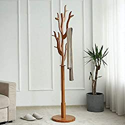 XQY Percheros Perchero de pie Perchero de bambú con Forma de árbol Soporte Percha con 6 Ganchos y Base Redonda para Perchas y Sombreros, Color Natural y Duradero de bambú, Perchero