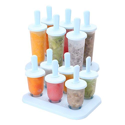 Set di 12 stampi per il ghiacciolo, stampi pop riutilizzabili di gelato gelato fai-da-te per bambini