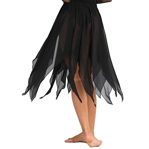 Dance Kostüm Damen - Freebily Damen Bauchtanz Kostüm Chiffon Rock Tanz-Kleid Tanzrock Dance Rock Frauen Tanz Outfits Tanzkleidung Schwarz One Size