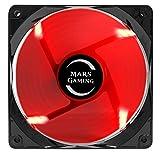 Mars Gaming MF12 - Ventilador para ordenador (9 aspas, iluminación LED roja, diseño antiturbulencias, rodamiento larga duración FLUXUS, 50.000 horas funcionamiento, 14 db, silencioso), negro y rojo