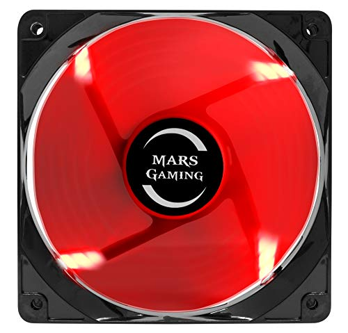 Mars Gaming MF12 - Ventilador para ordenador (9 aspas, iluminación LED roja,...