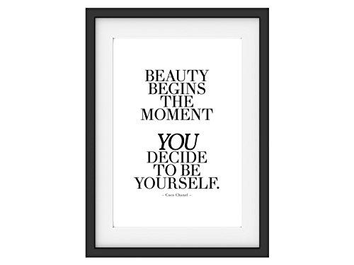 Shabby Druck Kunstdruck BEAUTY BEGINS THE MOMENT Coco Chanel Zitat DIN A3