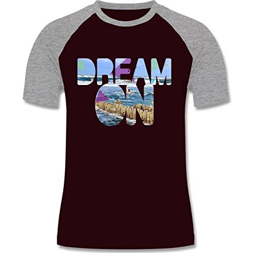 Statement Shirts - Dream On Strand Meer - zweifarbiges Baseballshirt für Männer Burgundrot/Grau meliert