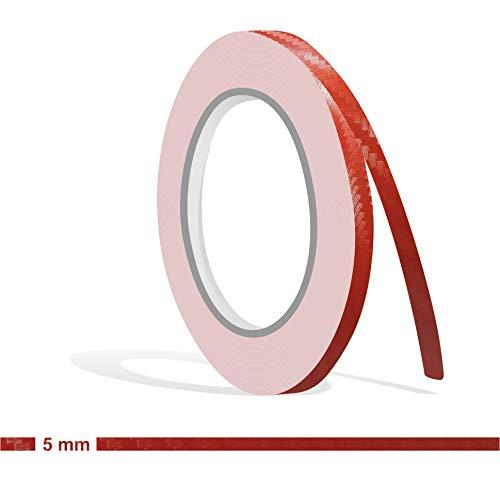 Siviwonder Zierstreifen rot Carbon in 5 mm Breite und 10 m Länge Folie für Auto Aufkleber Boot Jetski Modellbau Klebeband Dekorstreifen