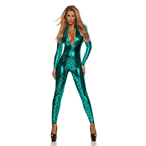 CWZJ Women Es Latex Leotard Nachtclub Dance Fish Drachen Skala Metall Latex Catsuit Imitation Leder Jumpsuit Front Reißverschluss Lange Ärmel Bühnenkostüm,Green