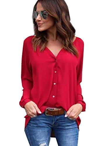 Yidarton Damen Bluse Chiffon Langarm Oberteile Elegante Mode Hemd Asymmetrisch Top (Rot, S)