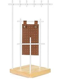 SONGMICS JJS07NW - Soporte para joyas, madera maciza, para guardar pendientes, collares y pulseras, escaparate, regalo, hierro, pino, color marrón y blanco