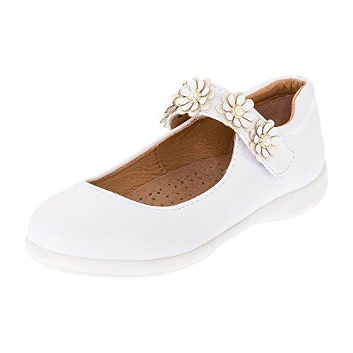 Festliche Mädchen Ballerinas Schuhe mit Echt Leder Innensohle M418ws Weiß 33