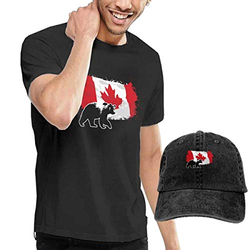 Henrnt T-Shirts Herren, Canada Maple Bear T-Shirts Short Sleeve Denim Hat - Rotklee-kombination