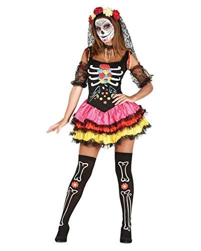 Day of The Dead Kostüm mit Haarreif und Armstulpen für Deinen Auftritt am Tag der Toten ()