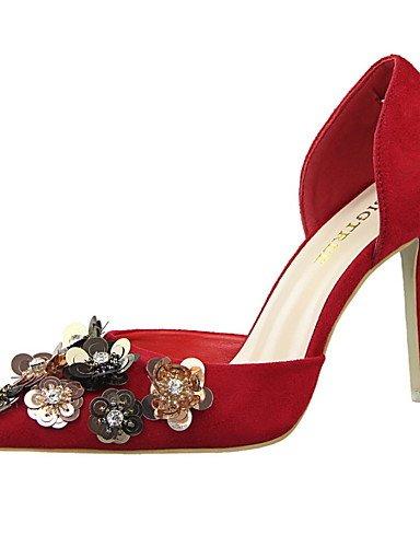 WSS 2016 Chaussures Femme-Habillé-Noir / Rose / Rouge / Gris / Bordeaux / Kaki-Talon Aiguille-Talons / Bout Fermé / Bout Pointu-Talons-Daim gray-us8 / eu39 / uk6 / cn39
