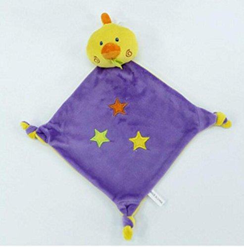 Baby Appease Tröster Spielzeug Soft Handtuch Kurze Tröster Spielzeug Handpuppe Plüsch Ente Toy_ Purple + gelb -