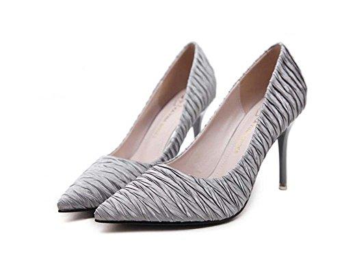 Donne Pump 8.5cm Scarpin puntato pizzo pizzo pattini abito elastico abiti da sposa scarpe da sposa Ol Corte scarpe Eu Taglia 34-40 ( Color : Gray , Size : 36 )