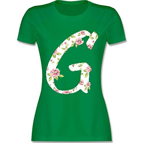 Anfangsbuchstaben - G Rosen - tailliertes Premium T-Shirt mit Rundhalsausschnitt für Damen Grün