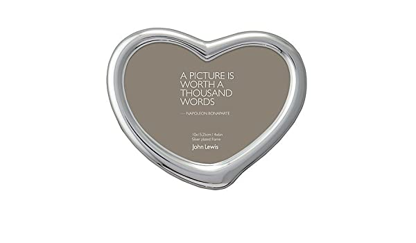 John Lewis Heart Photo Frame Silver Plated 4 X 6 10 X 15cm
