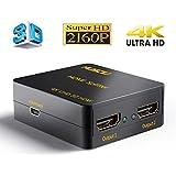 Musou 4K HDMI Splitter, Distribuidor / Divisor de HDMI, 1 Entrada 2 Salida, Dispensador de Señal, 1x2 Puerto Conmutador, 2 Vías Amplificador de Distribución, HDMI Versión 1.4 Separador, Full HD 3D 2160P Adaptador, Soporte CEC HDCP UHD, Negro