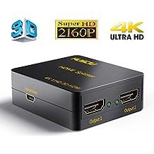 Musou 4K HDMI Splitter, Distribuidor / Divisor de HDMI, 1 Entrada 2 Salida, Dispensador de Señal, 1x2 Puerto Conmutador, 2 Vías Amplificador de Distribución, HDMI Versión 1.4 Separador, Full HD 3D 2160P Adaptador, Soporte CEC HDCP UHD,