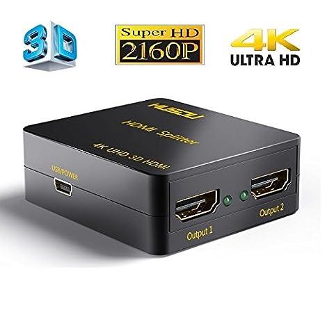 Musou 4K HDMI Répartiteur 1x2 HDMI Splitter 1 entrée 2 sorties Amplificateur Distributeur 2 voies HDMI Ver 1.4 Soutien 3D CEC HDCP,Black
