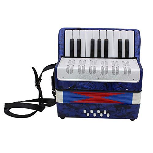 B Blesiya 17 Noten Tasten Kinder Akkordeon Ziehharmonika Musikinstrument (mit Aufbewahrungstasche und Gurt) - Dunkelblau