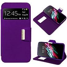 Funda Flip Cover Premium color Violeta para Alcatel One Touch Pop D5