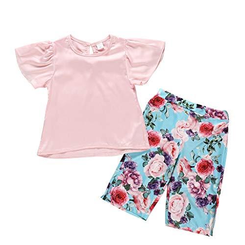 Longra Baby Kinder Kurzarm einfarbig Top T-Shirt + Floral Pants Set Sommer Kinder Solid Print Tops Blumendruck Hosen Outfits Kindermode kinderbekleidun 5k Outerwear Pant