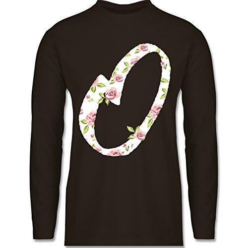 Anfangsbuchstaben - O Rosen - Longsleeve / langärmeliges T-Shirt für Herren Braun