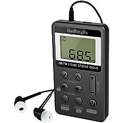 Petite Radio Portable Radio FM Syntonisation Numérique Stéréo avec Ecran LCD Mini Poche Radio Rechargeable Poche pour Course À Pied Randonnée Marche avec Un Casque