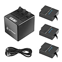 Artman GoPro Hero 5/6/7 1500mah Replacement Batteries(3 Pack) and 3-Channel LCD USB Storage Charger with Type-C Port for GoPro Hero 7 Black,Hero 5,Hero 6 Black,2018(Fully Compatible with Original)