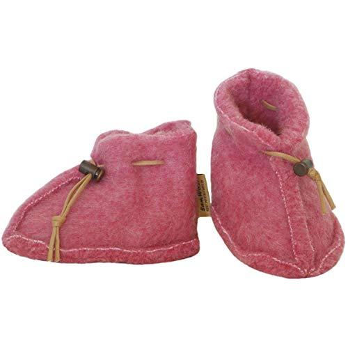 SamWo, Babyschuhe 100% natürliche Schafwolle mit Schnellverschluss BS S rosa