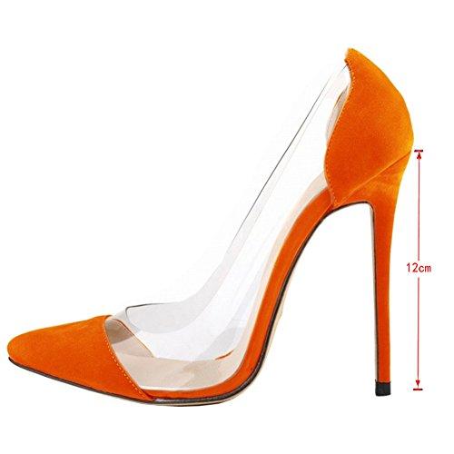 EKS Damen Faux Wildleder Patch Work Transparent Rand Spitzschuh Stilettos Pumps EU 35-46 Orange