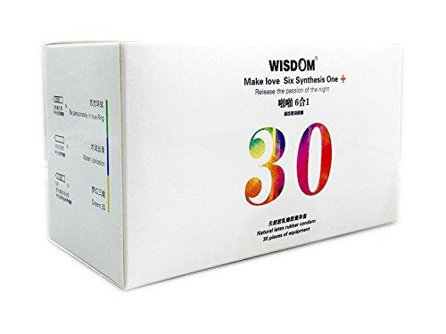 WISDOM Latex Mutual Climax Condom, sechs verschiedene aromatisierte Extra Invisible Lubricated, ultradünne, gerippte und gepunktete Kondome - Packung mit 30 Stück (Gefühl Kondome Geschmiert Latex)