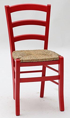 Arredinitaly - set composto da 2 sedie in legno colorato con sedile impagliato - dimensioni l.43 p.42 h.88 cm. seduta h.47 cm.