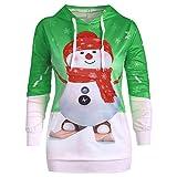 VEMOW Damen 3D Druck Sweatshirts mit Kapuzen Weihnachten Hoodie Pullover mit Cartoon Aufdruck...