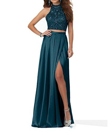 Charmant Damen Tinte Blau Steine Langes Abendkleider Promkleider Abschlussballkleider Zweiteilig 2018 Neu-36 Tinte Blau