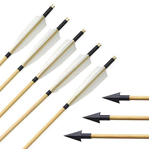 "SHARROW 6 Stück Handgemacht Holzpfeile 31"" Bogenpfeile mit 5"" Fletching Truthahnfeder Blechspitze für Langbögen Recurve Bögen Bogensport (Modell 5)"