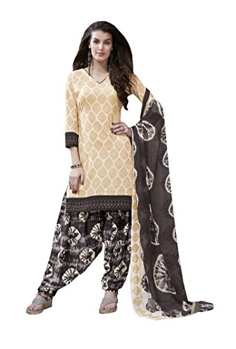Suit ( Shoponbit Cream colour Cotton printed Unstitched patiala Suit )
