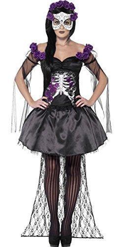 Damen Sexy Senorita Skelett mit Maske Tag der Toten Zuckerschädel Halloween Kostüm Kleid Outfit - Schwarz, 12-14