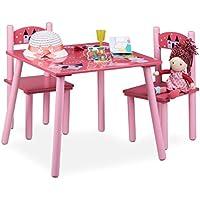 Preisvergleich für Relaxdays Kindersitzgruppe FUNNY mit Prinzessinnen-Motiv, 1 Tisch, 2 Stühle, Holz, Kindertischgruppe für Mädchen, rosa