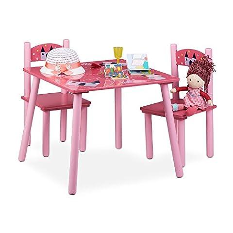 Relaxdays Kindersitzgruppe FUNNY mit Prinzessinnen-Motiv, 1 Tisch, 2 Stühle, Holz, Kindertischgruppe für Mädchen, rosa