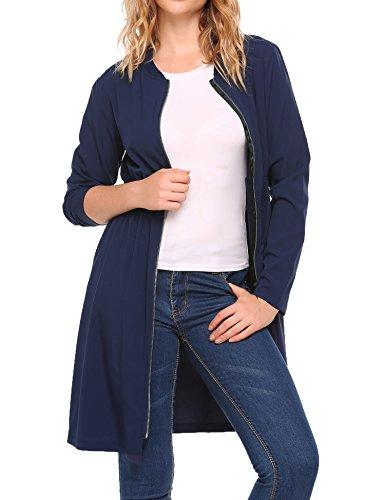 BeyoveDamen Dünner Mantel MantelkleidlangeJacke Elastizität Taille Vorne Reißverschluss CoatHerbst WinterFrühling -