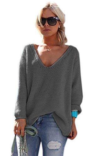 *Mikos* Damen Pullover Hoodie Sweatshirt Warm Lange Ärmel Casual Sleeve Pullover Jacke Slim Mantel Tops (617) Grafite