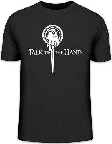 Shirtstreet24, Talk To The Hand, Herren T-Shirt Fun Shirt Funshirt, Größe: M,schwarz -