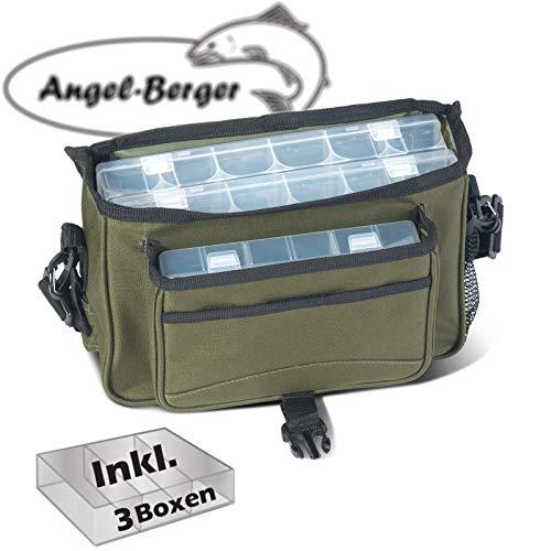 Angel-Berger Luxus Angeltasche klein Zubehörtasche Kunstködertasche mit Boxen